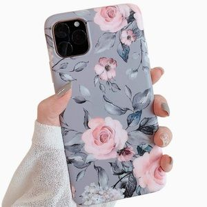 Accessories - iPhone 11 Pro Case Gray with Pink Flowers